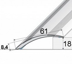 Přechodová lišta A 49  (61 mm samolepící) 1m