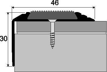 Schodová hrana A 38 v eloxu s gumovým nášlapem (šrubovací) 1,2m