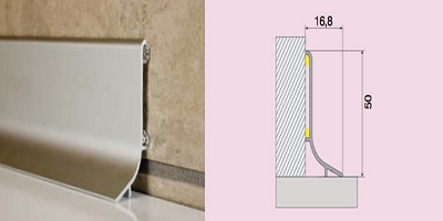 Soklová lišta hliníková Q64  (samolepící)