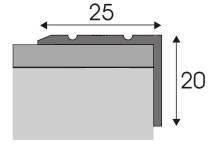 Schodová hrana A 36 v eloxu (šrubovací) 1,2m