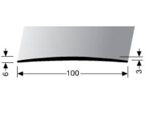Přechodová lišta A 72 v eloxu 100 mm (šrubovací) 1m