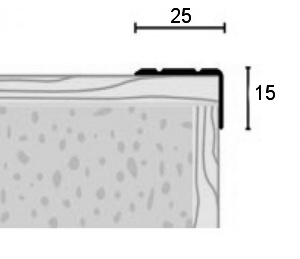 Schodová hrana A 31 v eloxu (samolepící) 2,7m