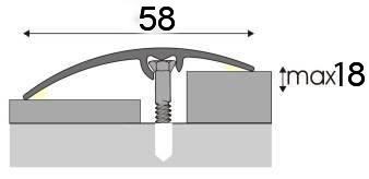 Přechodová lišta A75 Univerzální 58mm v eloxu 2,7m