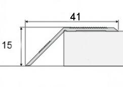 Přechodová lišta šikmá nájezdová v eloxu 41mm samolepící 2,7m