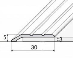 Přechodová lišta šikmá nájezdová v eloxu 30mm samolepící 2,7m