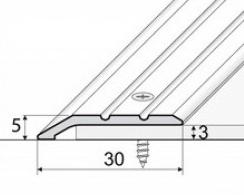 Přechodová lišta šikmá nájezdová v eloxu 30mm šrubovací 2,7m